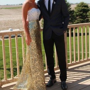 Prom Dress- White and Gold